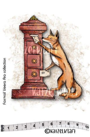 Katzelkraft - SOLO140 - Unmounted Red Rubber Stamp - Fox Mail