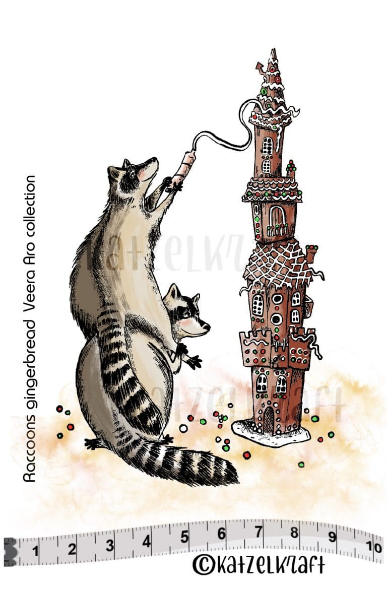 Katzelkraft - SOLO142 - Unmounted Red Rubber Stamp - Raccoons and Gingerbread
