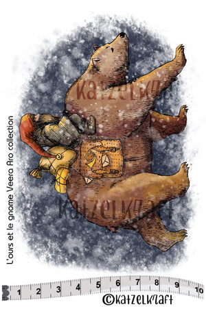 Katzelkraft - SOLO143 - Unmounted Red Rubber Stamp - Bear and Gnome