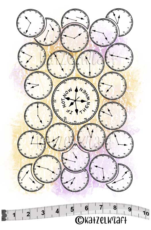 Katzelkraft - SOLO155 - Unmounted Red Rubber Stamp Set - Background Clocks