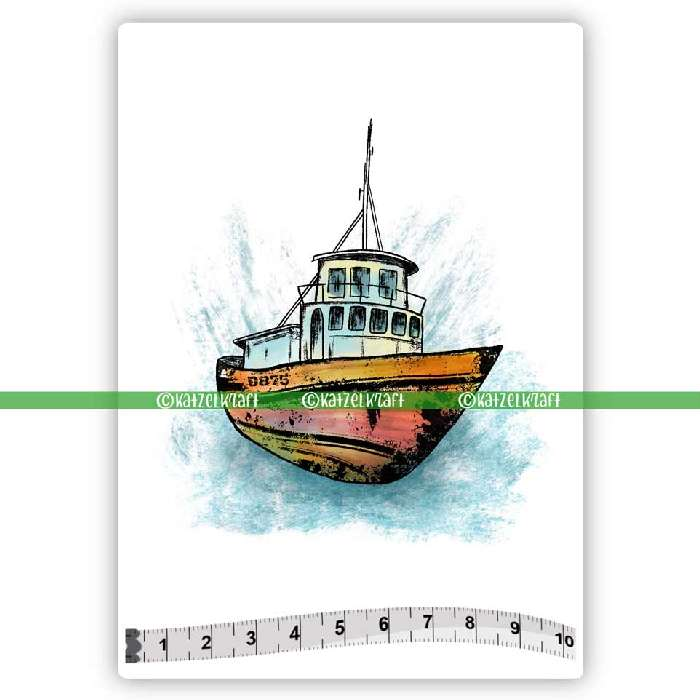 Katzelkraft - SOLO164 - Unmounted Red Rubber Stamp - Boat - PREORDER