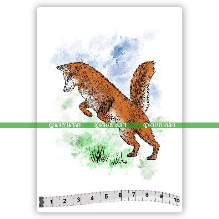 Katzelkraft - SOLO170 - Unmounted Red Rubber Stamp - Jumping Fox - PREORDER
