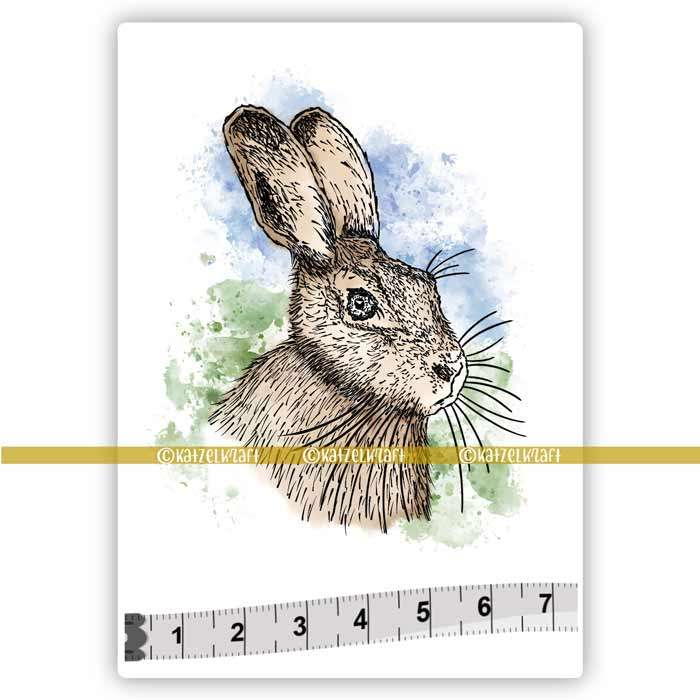 Katzelkraft - SOLO171 - Unmounted Red Rubber Stamp - Hare - PREORDER