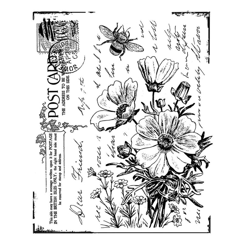 Crafty Individuals - Unmounted Rubber Stamp - 302 - Floral Postcard