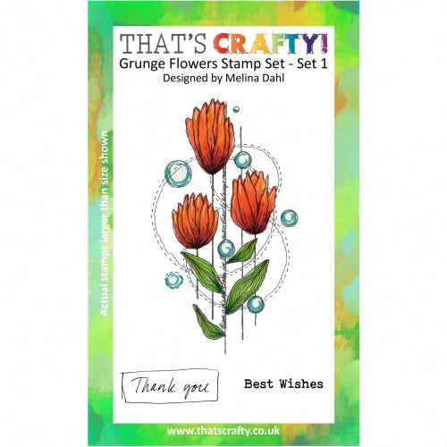That's Crafty! - Melina Dahl - Clear Stamp Set - Grunge Flowers - Set 1