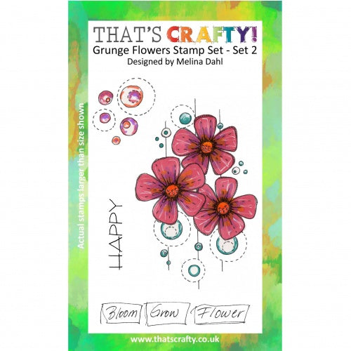 That's Crafty! - Melina Dahl - Clear Stamp Set - Grunge Flowers - Set 2