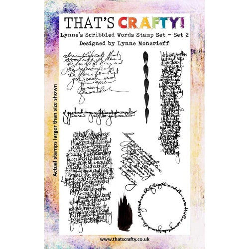 That's Crafty! - Lynne Moncrieff - Clear Stamp Set - Lynne's Scribbled Words Set 2