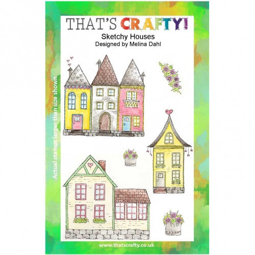 That's Crafty! - Melina Dahl - Clear Stamp Set - Sketchy Houses