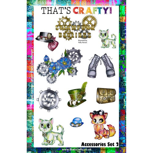 That's Crafty! - Clear Stamp Set - Steampunk Darlings - Accessories Set 2 - Kelly Horton