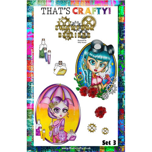 That's Crafty! - Clear Stamp Set - Steampunk Darlings - Set 3 - Kelly Horton