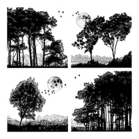 Crafty Individuals - Unmounted Rubber Stamp - Four Tree Landscapes