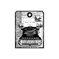 Crafty Individuals - Unmounted Rubber Stamp - 455 - Chunky Vintage Typewriter Tag