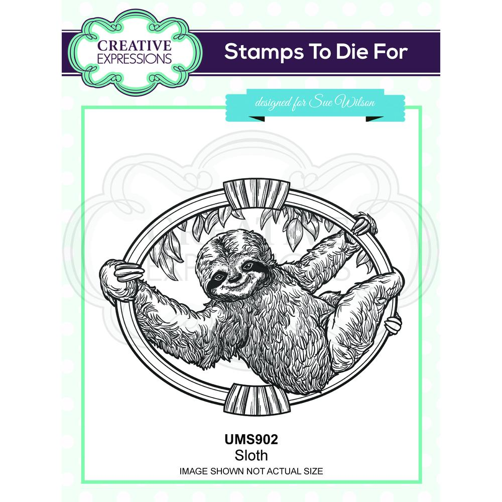 Creative Expressions - Rubber Cling Stamp - Sue Wilson Safari Collection - Sloth