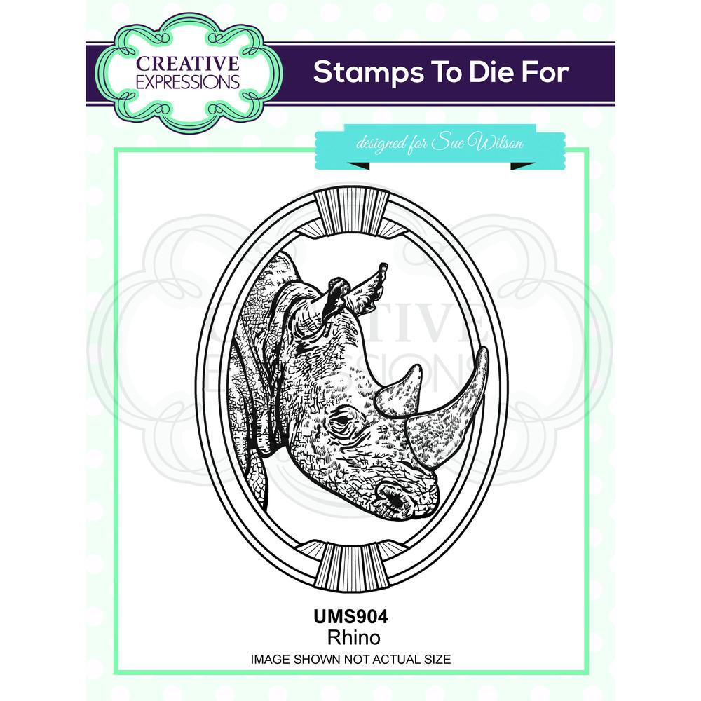 Creative Expressions - Rubber Cling Stamp - Sue Wilson Safari Collection - Rhino