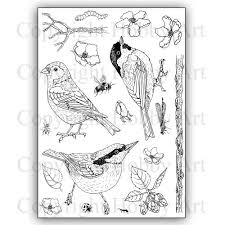 Hobby Art Stamps - Clear Polymer Stamp Set - A5 - Birds, Bugs, and Blossoms