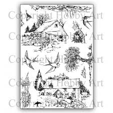 Hobby Art Stamps - Clear Polymer Stamp Set - A5 - Swallow Barn Scene It