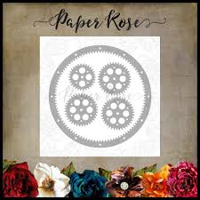 Paper Rose - Cog Frame Border - Die Set
