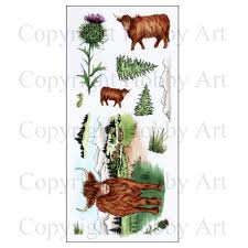 Hobby Art Stamps - Clear Polymer Stamp Set - Highland Cattle