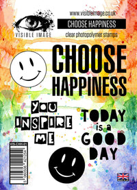 Visible Image - Choose Happiness - Clear Polymer Stamp Set