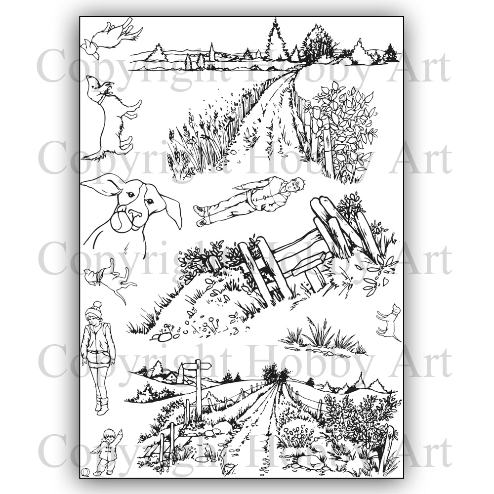 Hobby Art Stamps - Clear Polymer Stamp Set - A5 - Walkies