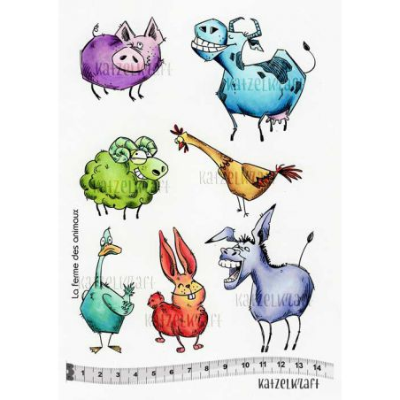 Katzelkraft - Farm Animals - Unmounted Red Rubber Stamp Set