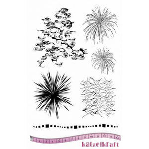 Katzelkraft - KTZ185 - Unmounted Red Rubber Stamp Set A5 - Background Nuages - Clouds - Fireworks