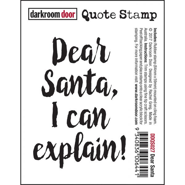 Darkroom Door - Quote Stamp - Dear Santa -  Quote Stamp - Red Rubber Cling Stamp