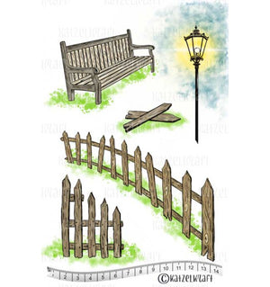 Katzelkraft - Les Barrieres - The Fences - Unmounted Red Rubber Stamp Set