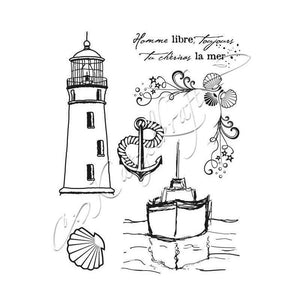 Katzelkraft - KTZ079 - Unmounted Red Rubber Stamp Set - Bateau en mer - Nautical