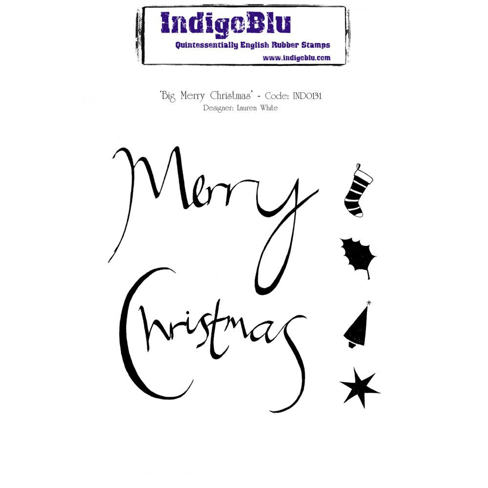 IndigoBlu - Cling Mounted Stamp - Merry Christmas - Dinkie