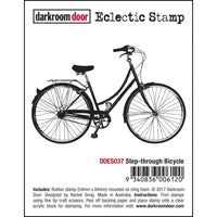 Darkroom Door - Step-through Bicycle - Red Rubber Cling Stamp