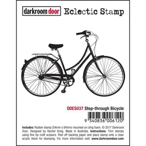 Darkroom Door - Eclectic Stamp - Step-through Bicycle - Red Rubber Cling Stamp