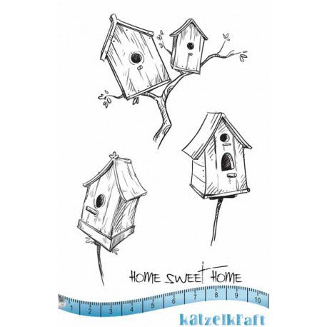 Katzelkraft - Bird Houses - Unmounted Red Rubber Stamp Set