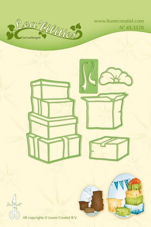 Leane Creatief Doodle Clear Stamp - Boxes & Presents Dies