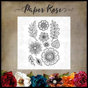 Paper Rose - Doodle Flowers 4 x 6 - Clear Stamp Set