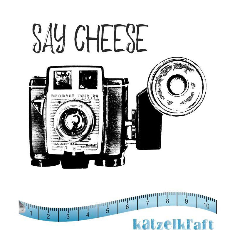 Katzelkraft - SOLO097 - Unmounted Red Rubber Stamp Set - Camera - Say Cheese