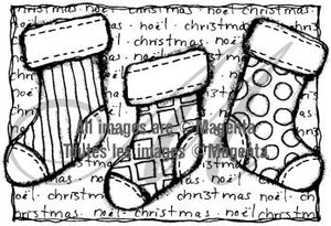 Magenta - Christmas Stockings - Rubber Cling Stamp