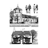 Crafty Individuals - Unmounted Rubber Stamp - 474 - Village Inn and Church