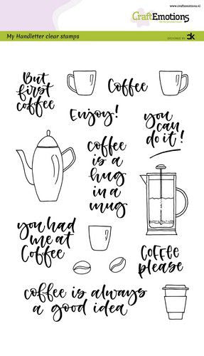 Craft Emotions - Clear Polymer Stamp Set - Coffee Please