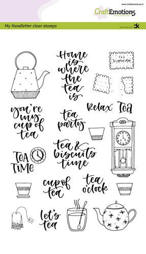 Craft Emotions - Clear Polymer Stamp Set - Tea Time