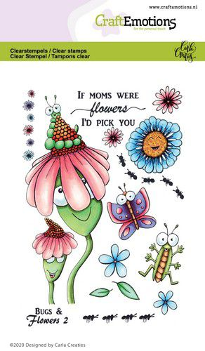 Craft Emotions - Clear Polymer Stamps - Bugs & Flowers 2