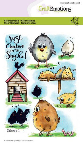 Craft Emotions - Clear Polymer Stamps - Chicken 1