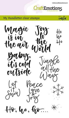 Craft Emotions - Clear Polymer Stamp Set - Handlettering - Small Christmas Text