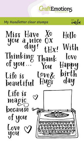 Craft Emotions - Clear Polymer Stamp Set - Handlettering - Typewriter Quotes