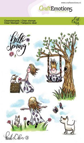 Craft Emotions - Clear Polymer Stamps - Hello Spring - Kaat & Odey 3