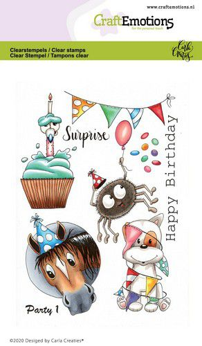 Craft Emotions - Clear Polymer Stamps - Party 1 - Carla Creaties