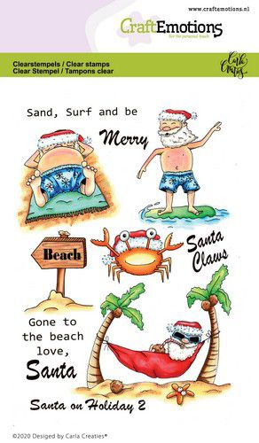 Craft Emotions - Clear Polymer Stamps - Santa on Holiday 2
