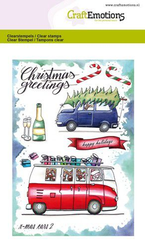 Craft Emotions - Clear Polymer  Stamps - Christmas Cars 2