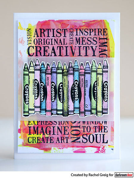 Darkroom Door - Eclectic Stamp - Crayons - Red Rubber Cling Stamp