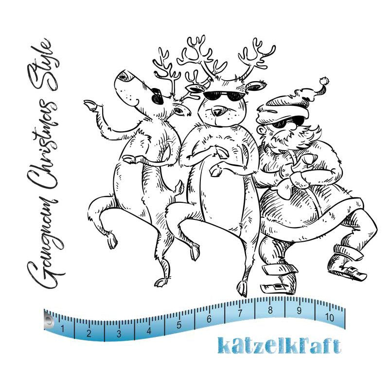 Katzelkraft - Dancing Santa & Reindeer- Unmounted Red Rubber Stamp Set